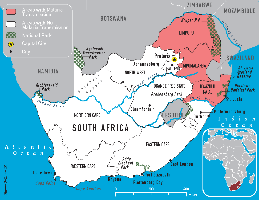 malaria risk map of south africa for 2019